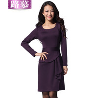 Free Shipping 2013 autumn and winter women OL outfit slim waist fashion plus size long-sleeve dress