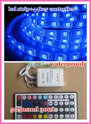 5M Waterproof SMD RGB 5050 LED Strip 300LED Flexible Strip light + 44 key IR remote(China (Mainland))