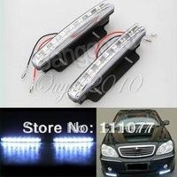 2X Car 8 LED DRL Driving Daytime Running Day LED Light Head Lamp Super White New