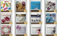 Amazing On Sale+Free shipping+30pcs/lot+Many Kinds Fashion Switch Sticker Home Decoration 9cm*9cm