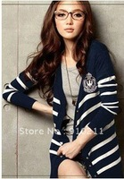 2013 New Fashion Color Blocking Irregular Striped Printing Sweater Cardigan
