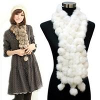 Rabbit fur scarf fur muffler scarf cape ball scarf rabbit fur