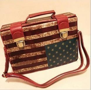 2012 women's handbag m word flag bag double hasp vintage messenger bag briefcase(China (Mainland))
