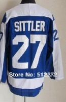 Free Shipping!!! Hockey jersey #27 Darryl Sittler throwback blue jersey