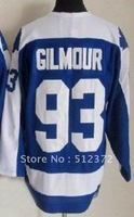 Free Shipping!!! Hockey jersey #93 Doug Gilmour throwback blue jersey