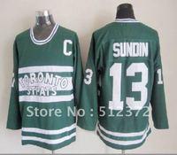 Free Shipping!!! Hockey jersey #13 Mats Sundin throwback green jersey