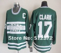Free Shipping!!! Hockey jersey #17 Wendel Clark throwback green jersey