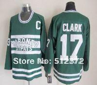 Free Shipping!!! Hockey jersey #17 Wendel Clark throwback green jersey
