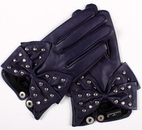 genuine leather bowknot lady purple gloves  S/M/L/XL free shipping HOT SALE! Valentine's Day Christmas gift