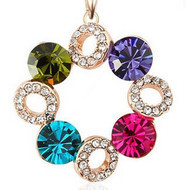 Multicolor Simulated Gemstone Happiness of  Ferris Wheel Rhinestone Crystal Necklace for Women 2013