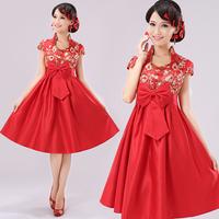 Summer chinese style vintage red bridal short design high waist maternity cheongsam evening dress skirt evening dress