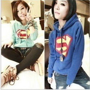 2014 Hot Sale Cartoon Superman Jacket Diamond Print Thicken Fleece Hoody Women coat,Seatshirt (M,L)+Free Shipping #3001