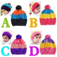 Free shippin 2012 HOT Korean Baby Hat Wool cap Children Cap baby hat Colorful children knitted hat