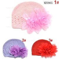 Breathable baby caps crochet flower hat girls caps 3 colors for 3~12 monthes baby