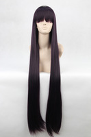 Shirakiin Ririchiyo 100cm purple black fusion long straight anime cosplay costume wig,synthetic real hair.Free shipping