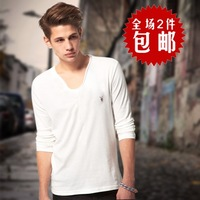 All saints heart-shaped collar solid color V-neck basic shirt male slim long-sleeve T-shirt plus size men's clothing