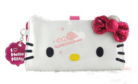 Hello kitty japanned leather bow sequin long design wallet women's wallet
