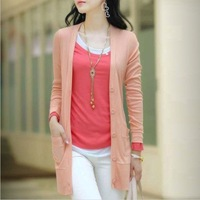 Hot sale Autumn New fashion Korea style women's Long Cardigan sweater, Top quality pocket Knitting Clothing for ladies