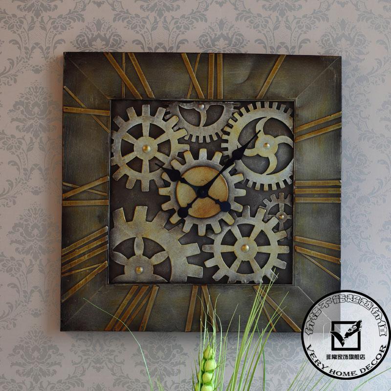 Engrenagem relógio de parede de ferro forjado americano acessórios para parede relógio de parede fashion decoração relógio sala relógio de parede(China (Mainland))