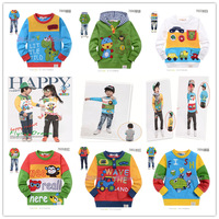 Crab sago rabbit 100% cotton long-sleeve round neck T-shirt male child girls clothing baby loop pile sweatshirt