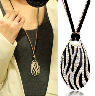 1494 fashion boutique necklace star elegant black and white zebra print long necklace