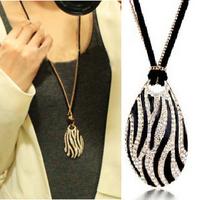 1494 fashion boutique necklace star elegant black and white zebra print long necklace