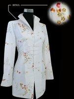 White Chinese Women's Silk Satin Embroidered Long Jacket Coat Flowers S M L XL XXL XXXL 4XL 5XL 6XL J1394