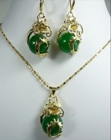 New Fashion Hot Beautiful Woman&#39;s Pearl Jewelery Set Natural Greenn jade Dragon pendant necklace earring  free shipping