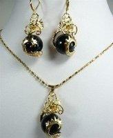 New Fashion Hot Beautiful Woman's Pearl Jewelery Set Natural Black jade dragon Pendant necklace earring  free shipping