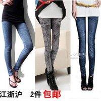 Free shipping+Faux denim leggings female stretchy pants autumn winter legging velvet ankle length trousers many design