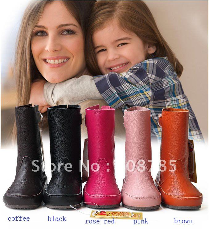 2012 new children First layer of cowhide boots genuine leather parent-child shoes boots free shipping B0496