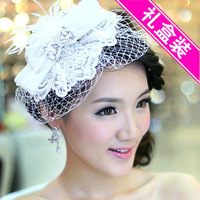 Colour bride white feather lace fedoras hair accessory rhinestone bridal hairpin wedding