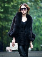 2012  Lady Genuine mink hair Fur and fox fur  coat /  wraps/shawl Three quarter  free size    DHL free shipping