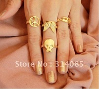 <Attention!Free shipping for Min.order $15,mix model> bow Wishing clavicle chain skeleton ring,R056