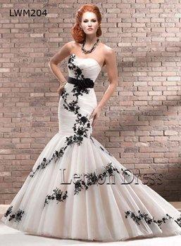 Free shipping White Lady Ruched Mermaid Bridal Dress, Organza Black Appliques Sash Floral Bridal Gown LWM204