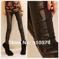 New fashion K136 spring-autumn women's pants stretch leggings cotton leather pencil trousers wholesale and retail FREE SHIPPING