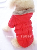 Fashion puffa-style Winter warm cat pet dog jackets coats.Red Black Blue colors.size:S M L XL XXL 10pcs/lot Free shipping!