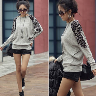 2012 autumn women's new arrival top basic shirt fashion loose 100% cotton leopard print long-sleeve T-shirt