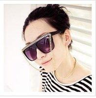 Free shipping Gaga ball glasses vintage box chain sunglasses recessionista