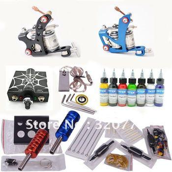 Professional tattoo kit with 2pcs tattoo gun and 1pcs high quality tattoo power supply hot sale