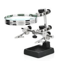 LODESTAR Helping Third Hand Soldering Stand with 2X Magnifying Glass - Silver + Black