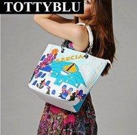 Totty blu2012 new women's handbag candy color block vintage one shoulder bag for women