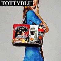 Totty blu 2012 new candy color vintage patchwork one shoulder fashion handbag for women