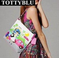 Totty blu 2012 new women's handbag candy color vintage color block messenger bag