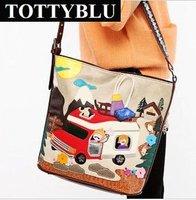 Totty blu 2012 new fashion women's handbag vintage color block messenger bag summer shoulder bag