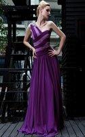 Free Shipping Elastic Tencel A-line Luxury And Sexy Women Purple Evening Wear 30572