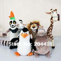 Free shipping Madagascar 3 plush toys 6pcs/set lion deer Hippo  Penguin Lemurs zebra doll