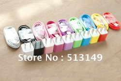 Colorful US /EU Plug Mini USB Power Adapter/ wall Charger +USB Data Charging Cable for iphone 3g 3gs 4g 4gs,200pcs/lot Free DHL(China (Mainland))