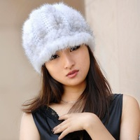 Fashion winter hat  fur women's real mink hat mink hair knitted hat