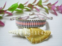 Hot Sale Handcraft  Friendship Bangles! Fashion 925 Silver+Shallow Blue /Pink Rope Handmade Friendship Links Bangles